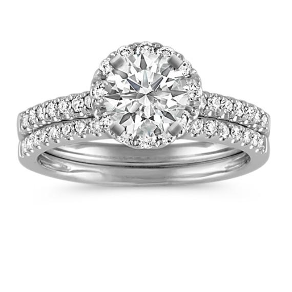 Round Halo Diamond Wedding Set with Pave Setting