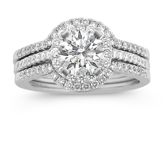 Triple Band Halo Diamond Wedding Set with Pave Setting