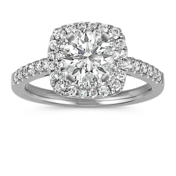 Double Halo Diamond Platinum Engagement Ring with Pave Setting
