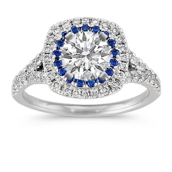 Diamond and Sapphire Engagement Ring with Pave Setting