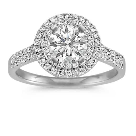 65fdb9d1c55 Double Round Halo Diamond Engagement Ring with Pave Setting
