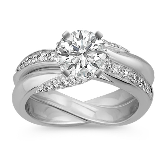Swirl Diamond Wedding Set with Pave-Setting in 14k White Gold