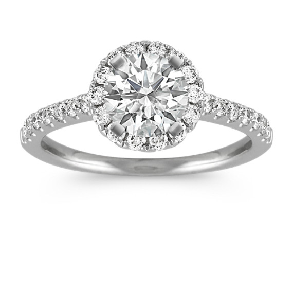 Halo Engagement Ring with Round Pave-Set Diamonds