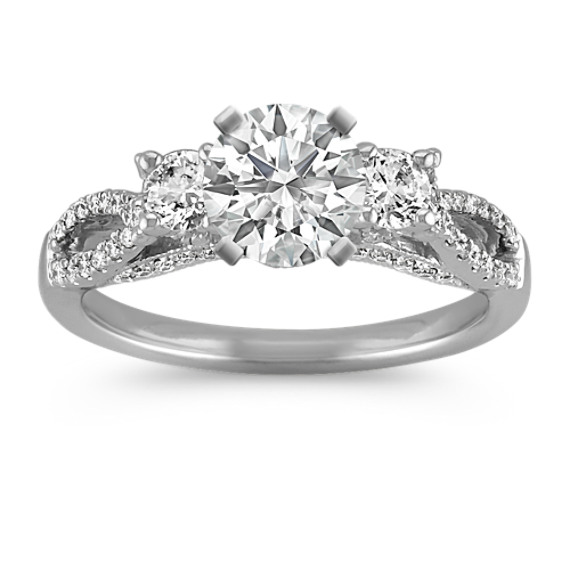 ThreeStone Swirl Diamond Engagement Ring in 14k White Gold Shane Co