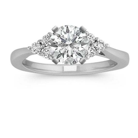 Round Diamond Trio Accent Engagement Ring in 14k White Gold
