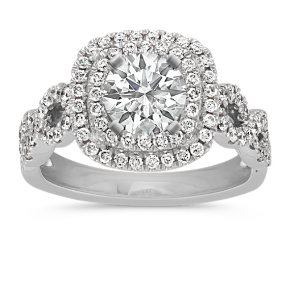 Cushion Double Halo Infinity Diamond Engagement Ring in 14k White Gold