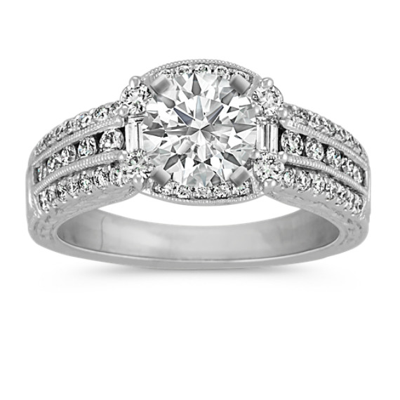 Round Diamond Halo Vintage Engagement Ring with Pave-Setting