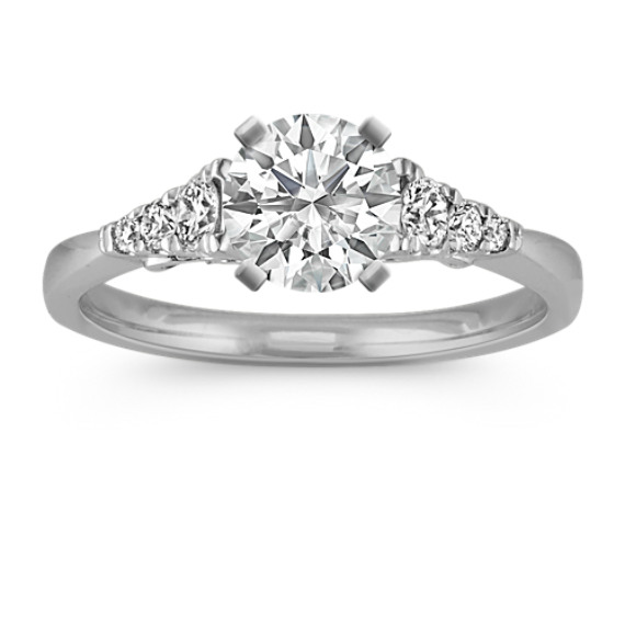 Classic Cathedral Round Diamond Engagement Ring