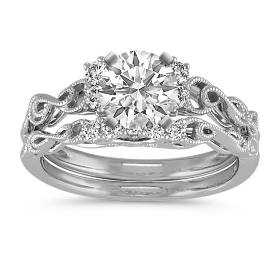 Vintage Round Diamond Wedding Set with Milgrain Detailing