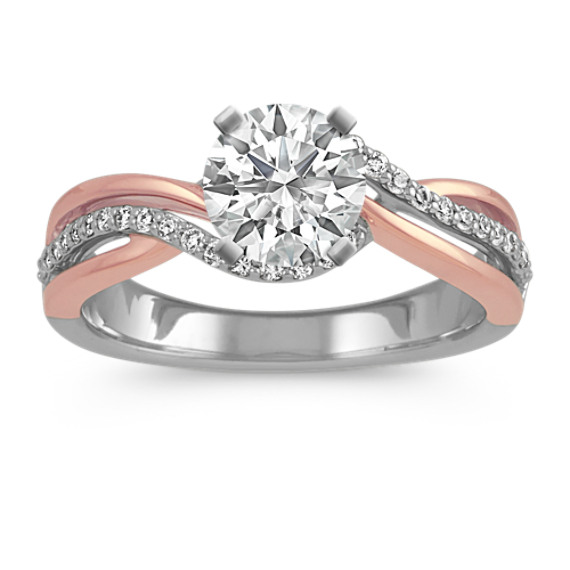 Round Diamond Swirl Ring in 14k White and Rose Gold