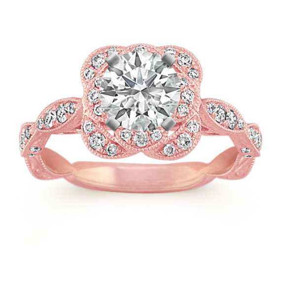 Round Diamond Vintage Halo Engagement Ring in 14k Rose Gold