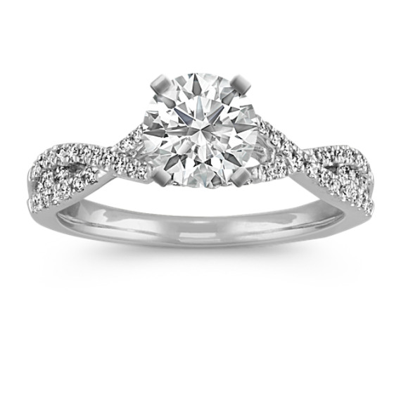 Round Diamond Cathedral Infinity Engagement Ring with Pave-Setting