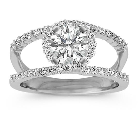 Round Diamond Halo and Split Shank Ring