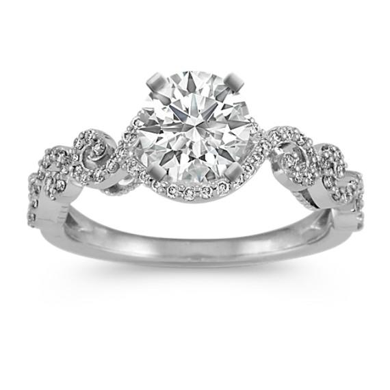 Round Diamond Swirl Engagement Ring in 14k White Gold