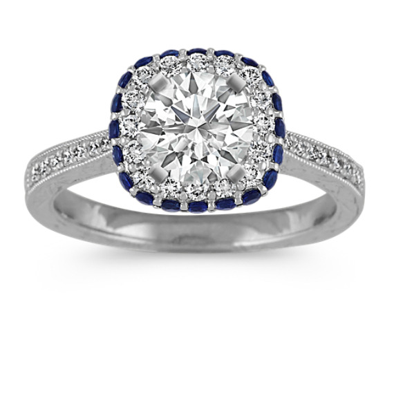 Vintage Halo Diamond and Sapphire Engagement Ring