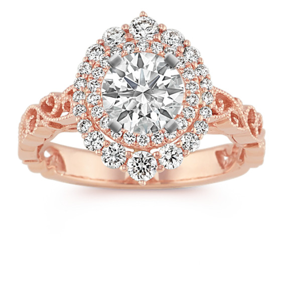 Vintage Halo Engagement Ring In 14k Rose Gold Shane Co