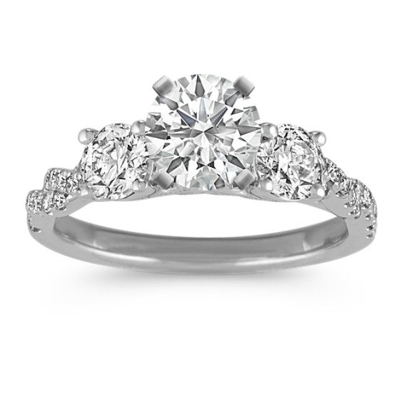 ThreeStone Swirl Diamond Engagement Ring Shane Co