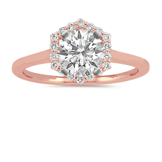 Halo Diamond Engagement Ring in 14k Rose Gold