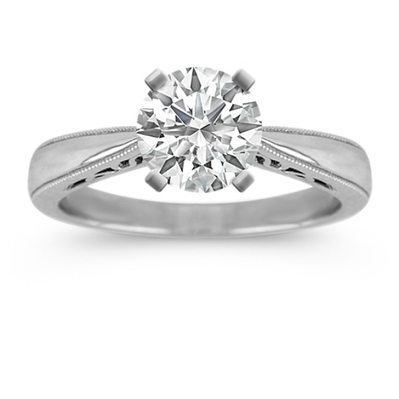 Cathedral Solitaire 14k White Gold Engagement Ring Shane Co