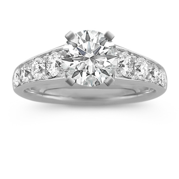 Classic Round Diamond Cathedral Engagement Ring