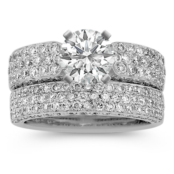 Pave-Set Round Diamond Wedding Set