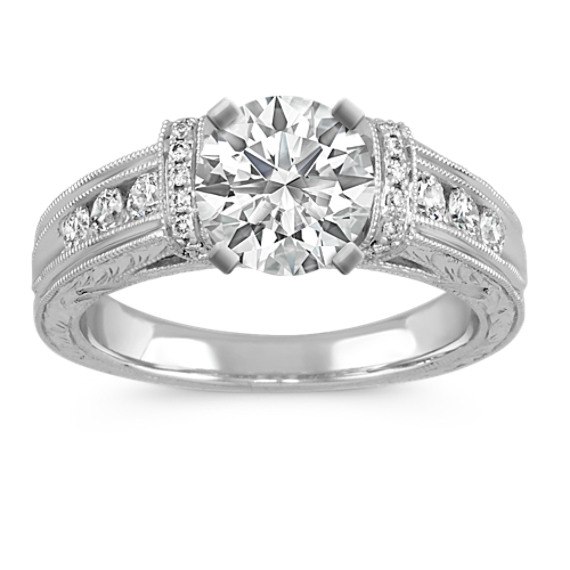 Vintage Cathedral Diamond Pave and Channel-Set Engagement Ring