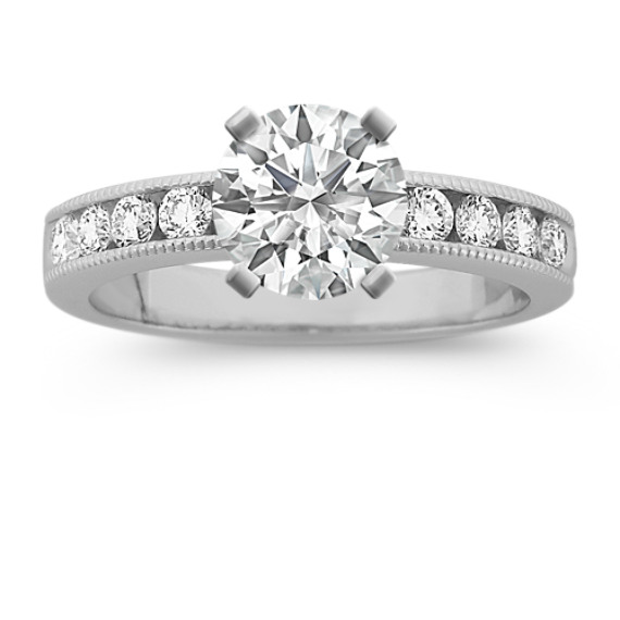 Milgrain Outlined Round Diamond Engagement Ring