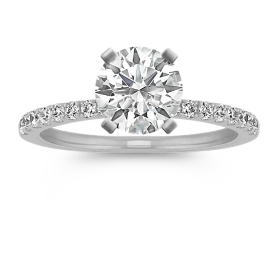 Diamond Engagement Ring with Pave Setting in 14k White Gold