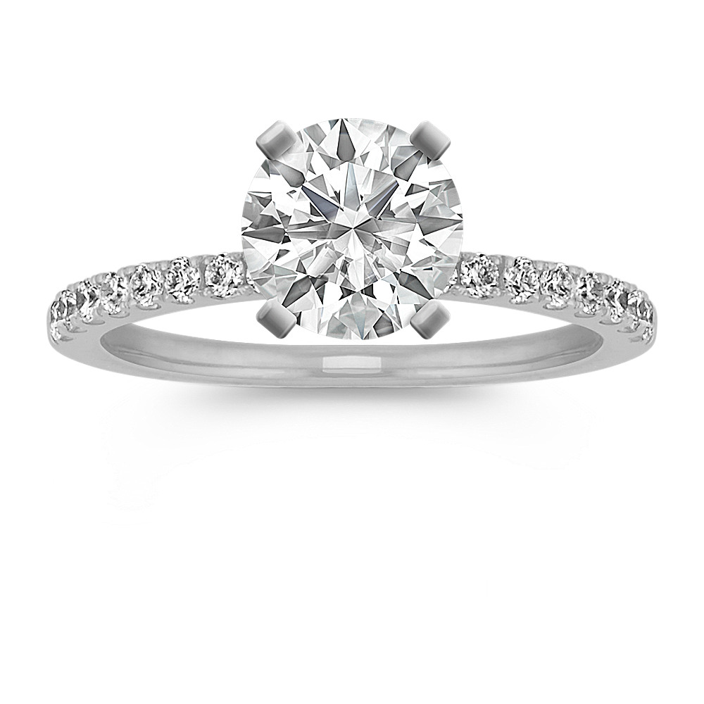 737d4b185f636 Pave-Set Diamond Engagement Ring in 14k White Gold