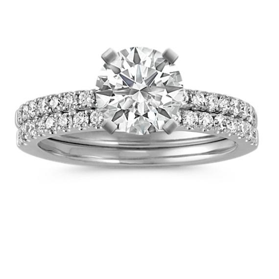 Diamond Wedding Set with Pave-Setting