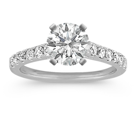 Cathedral Round Diamond Engagement Ring with Pave Setting