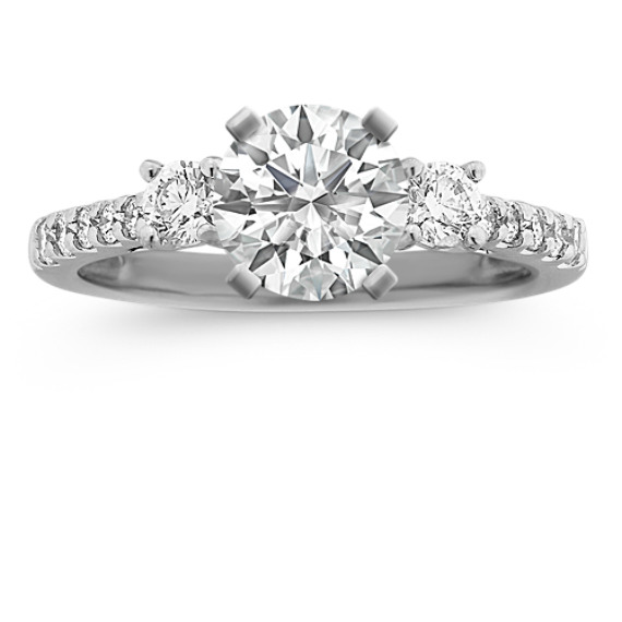 Three-Stone Cathedral Round Diamond Engagement Ring with Pave Setting