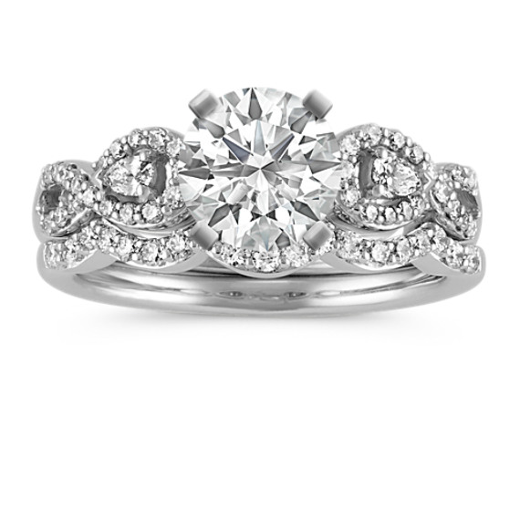 Infinity Pear-Shaped and Round Diamond Wedding Set with Pave-Setting