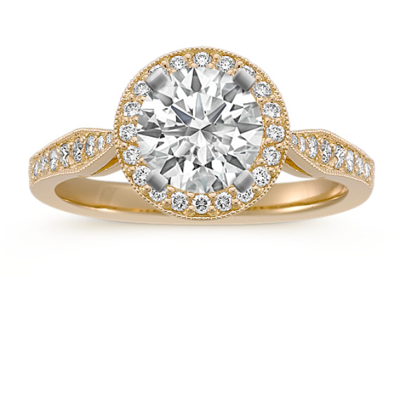Round Halo Diamond Engagement Ring in 14k Yellow Gold
