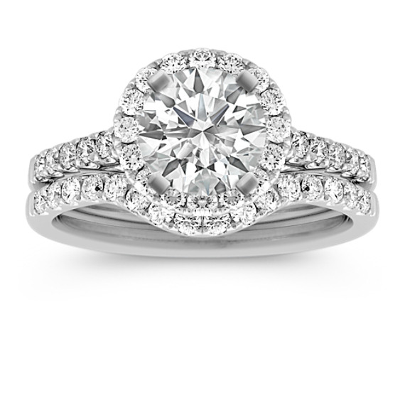 Halo Pave Set Diamond Wedding Set
