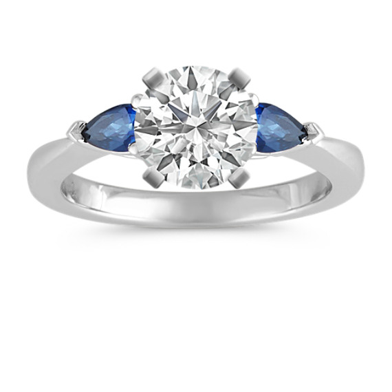 Three-Stone Pear-Shaped Sapphire Platinum Engagement Ring