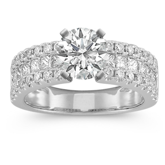 Princess Cut and Round Diamond Engagement Ring with Channel-Setting