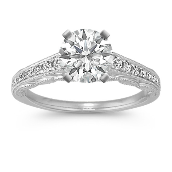 Vintage Cathedral Diamond Engagement Ring with Pave Setting