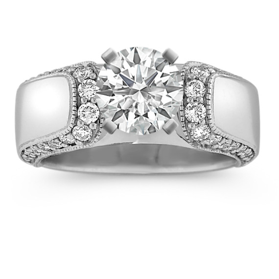 Cathedral Round Diamond Engagement Ring with Pave-Setting