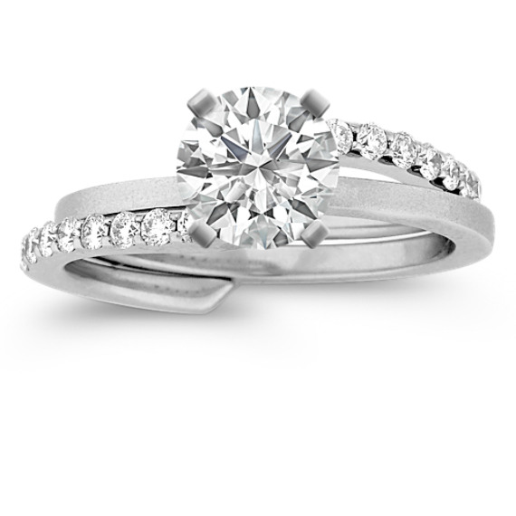 Swirl Diamond Wedding Set with Pave Setting and Brush Finish