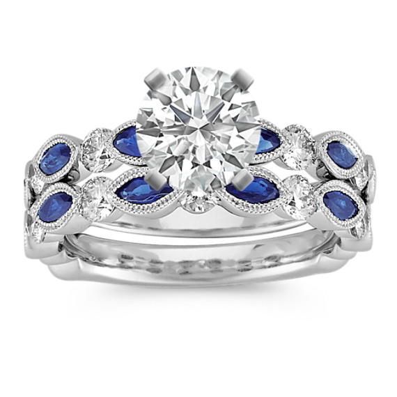 Vintage Marquise Sapphire and Round Diamond Wedding Set with Pave Setting