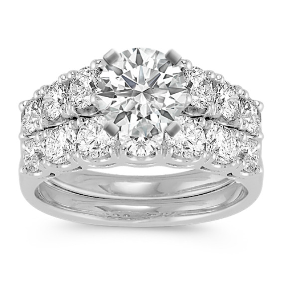 Round Diamond Cathedral Wedding Set