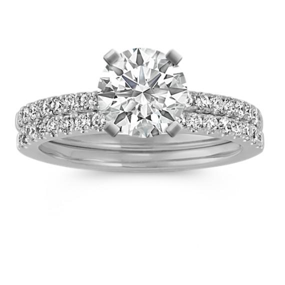 Diamond Wedding Set with Pave-Setting (Size 5)