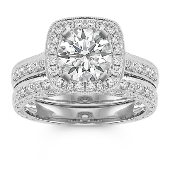 Halo Vintage Pave Set Diamond Wedding Set in 14k White Gold