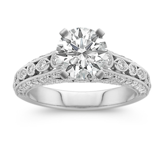 Milgrain Framed Round Diamond Engagement Ring