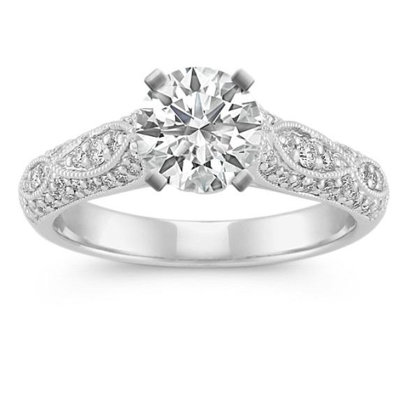 Cathedral and Milgrain Crossing Diamond Engagement Ring with Pave Setting