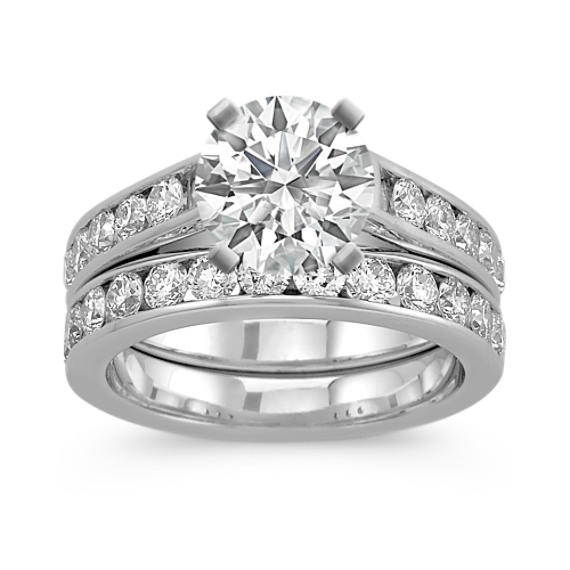 Cathedral Diamond Wedding Set with Channel-Setting in 14k White Gold