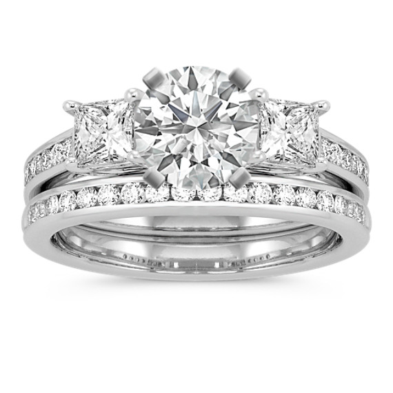 Three-Stone Princess Cut and Round Diamond Cathedral Wedding Set