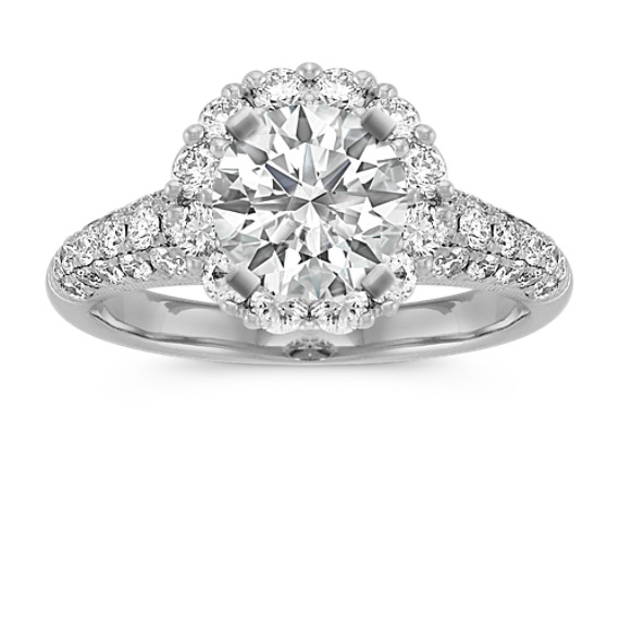 Round Diamond Halo Engagement Ring with Pave-Setting
