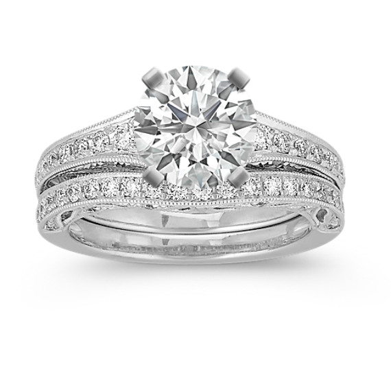 Vintage Pave Set Round Diamond Wedding Set in Platinum